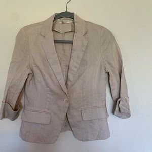 Poetry 100% Linen Tan Blazer Size Small One Button